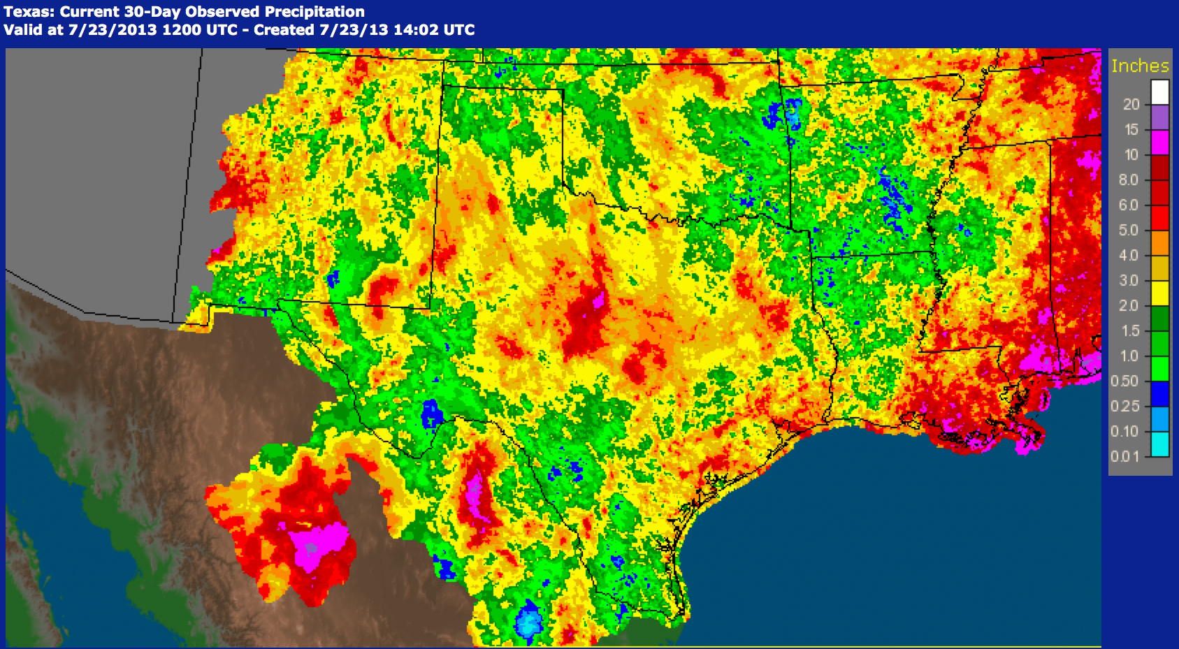 During the last 30 days, Texas rainfall ranged from 4 to 8 inches — with instances of 10 inches reported.