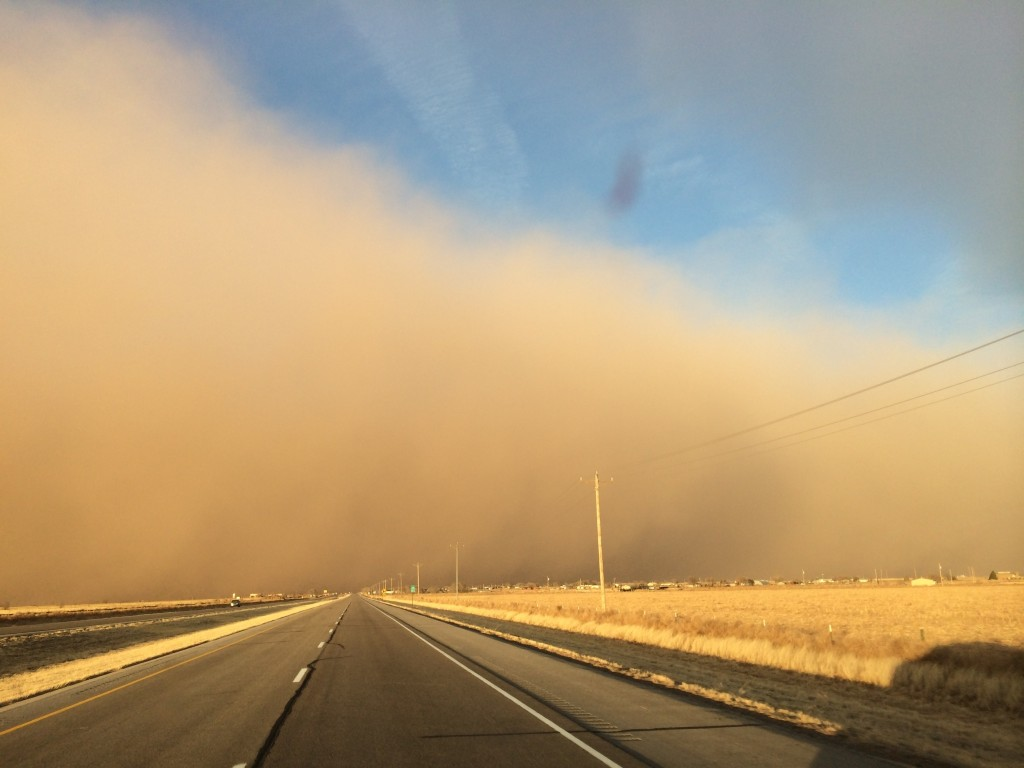 Dr. Kevin Appel, a Panhandle optometrist, took this photo of a dust storm blowing in from the west near Canyon on March 18. (Texas A&M AgriLife Extension Service photo courtesy of Dr. Kevin Appel)